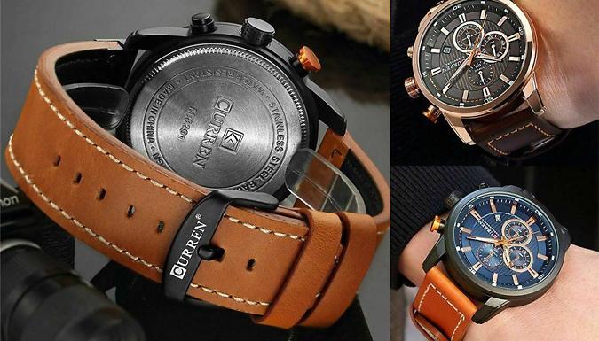 Men's Curren Leather Strap Quartz Watch – 4 Colours Deal Price £ 14.99