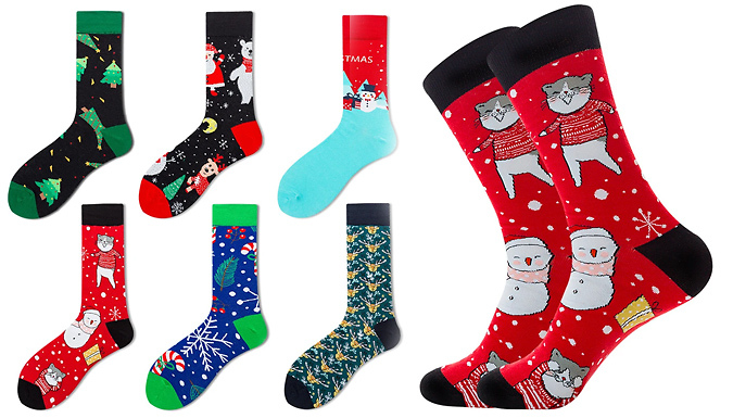 6 Pairs of Novelty Christmas Cotton Socks from Discount Experts