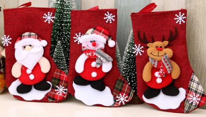 1, 2 or 4-Pack of Christmas Stockings - 4 Designs from Discount Experts