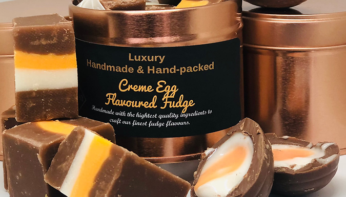 Creme Egg Flavoured Luxury Fudge Tin from Discount Experts