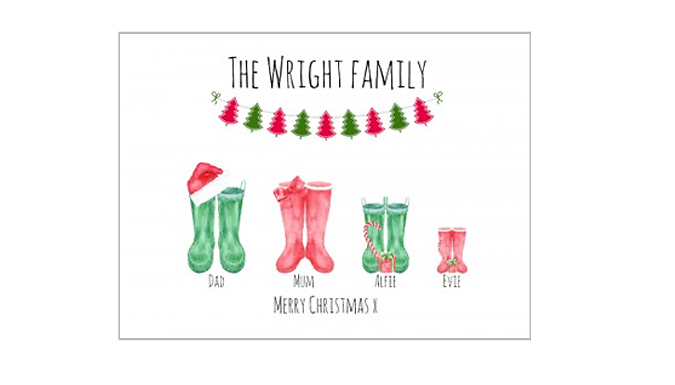 Personalised Christmas Welly Canvas - 3 Sizes