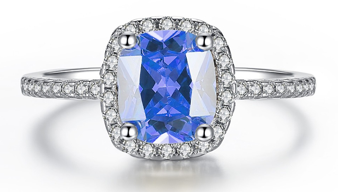 1.67ct Rhodium-Plated Simulated Sapphire Ring - 3 Colours