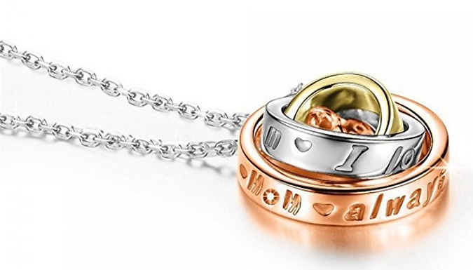 Rotating-Circles Engraved Pendant Necklace For Mom Deal Price £ 7.99