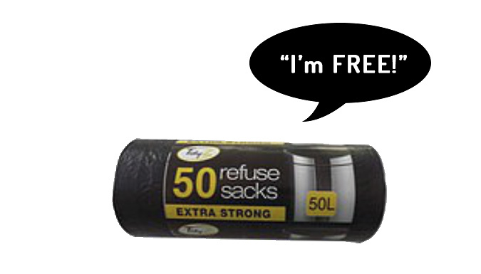 200 or 400 Extra-Strong 50L Black Refuse Bags + 50 Extra FREE!